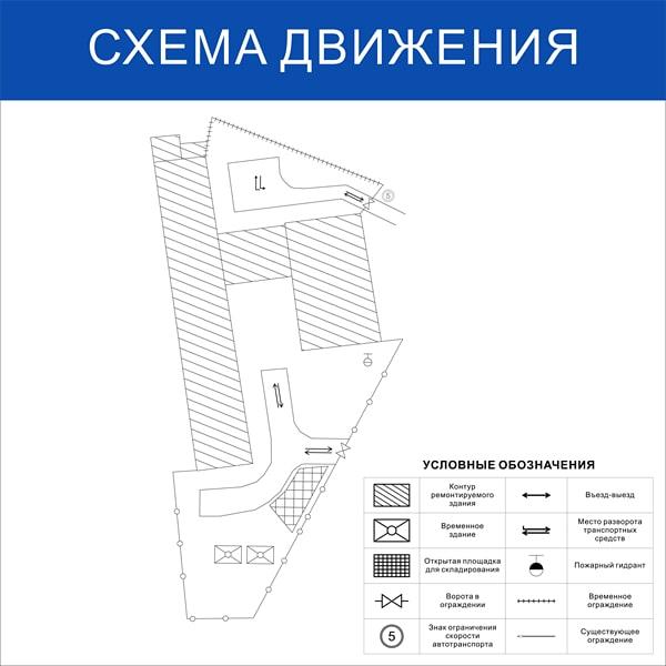 Схема движения транспорта по стройплощадке (размер 1х1 метр)